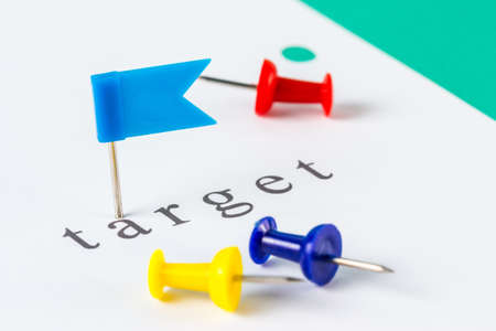 Flag push pin on paper at target word Stock Photo - 18121956