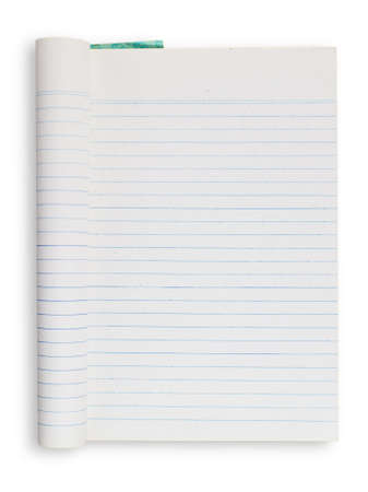 Folded notebook, blue striped lines, isolated on white background photo