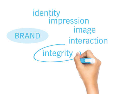 Hand draw a circle on Brand strategy Stock Photo - 18519238