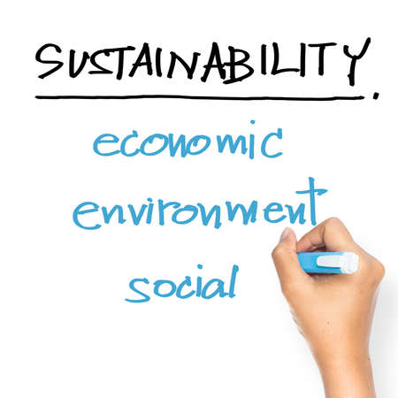 Hand writing Sustainability concept on whiteboard Stock Photo