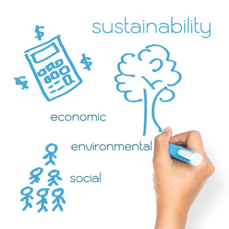 Hand writing Sustainable Business concept on whiteboard Stock Photo