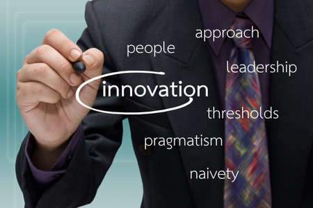 Businessman with innovation and keyword concept Stock Photo - 18728843