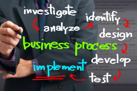Businessman writing a business process concept Stock Photo - 19284126