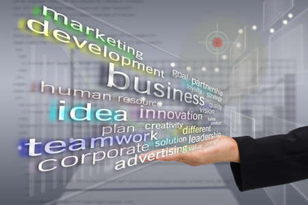 Hand met Business woordwolk op moderne virtuele scherm