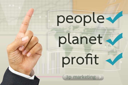 Hand with Modern business  marketing on screen