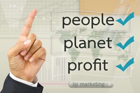 Hand met Moderne business marketing on scherm te Stockfoto