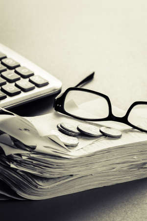 Financial work on the desk with copy space photo