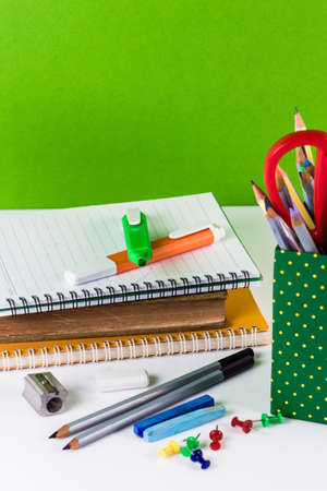 Learning equipments on the table, back to school photo