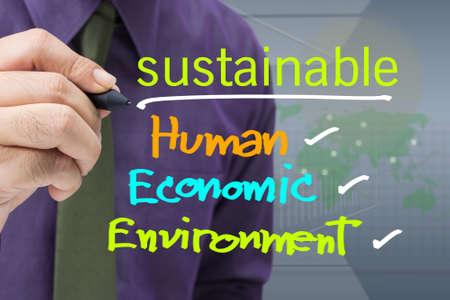 sustentabilidad: Escrito por concepto sostenible en la pantalla Foto de archivo