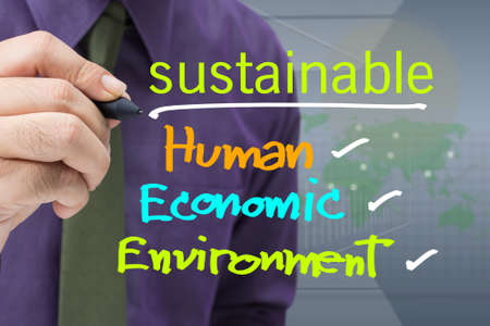 sustainability: Hand writing sustainable concept on screen