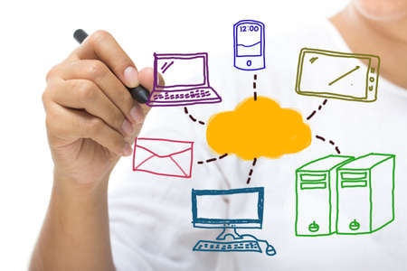 Closeup woman drawing colorful diagram of cloud computing on screen Stock Photo - 21745312