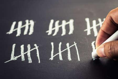 Hand tellen met krijtlijntjes Stockfoto