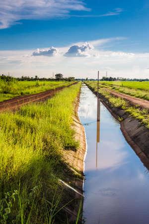 Irrigation canal in the farmland, public water way