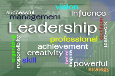 reality: Leadership word cloud on virtual reality screen Stock Photo