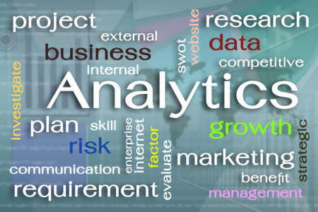 Analytics word cloud concept on virtual screen photo