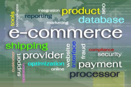 E-commerce word cloud on virtual reality screen