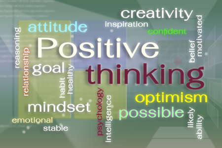 factor: Positive thinking word cloud  on virtual reality screen