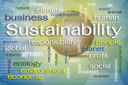 sustainability: Sustainability word cloud on screen Stock Photo