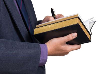 reference book: Empresario escrito en el libro de referencia sobre fondo blanco
