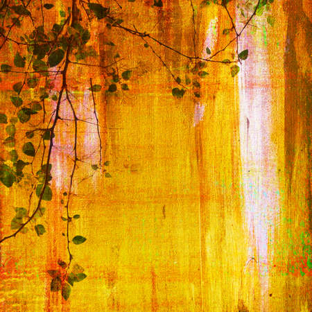 Painting on canvas texture with treetop photo