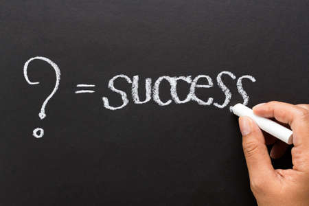 What is success in your opinion, message concept written by chalk photo