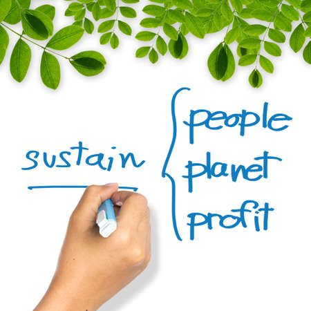 Hand writing a Sustainable business concept on whiteboard