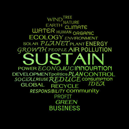 sustain: Sustain word clouds on black background