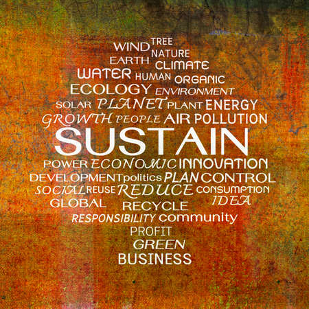 Sustain word clouds on grunge background photo