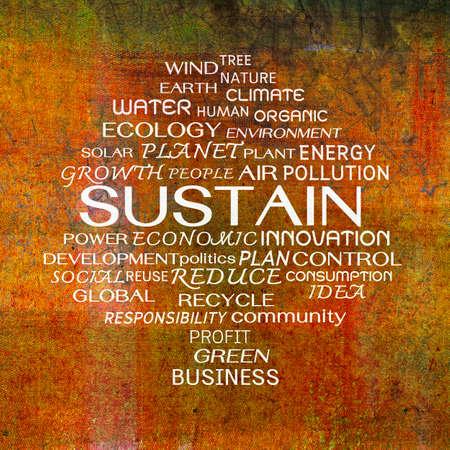 sustain: Sustain word clouds on grunge background