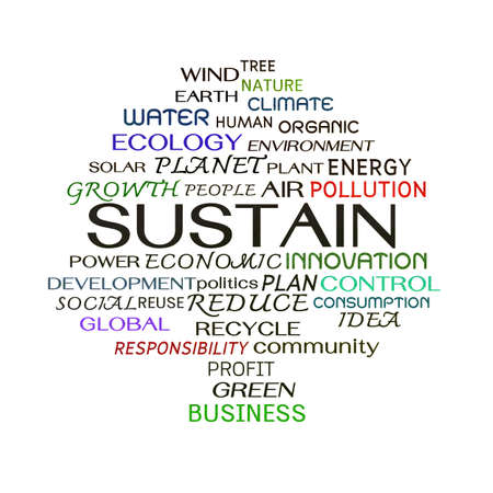 Sustain word clouds on white background photo