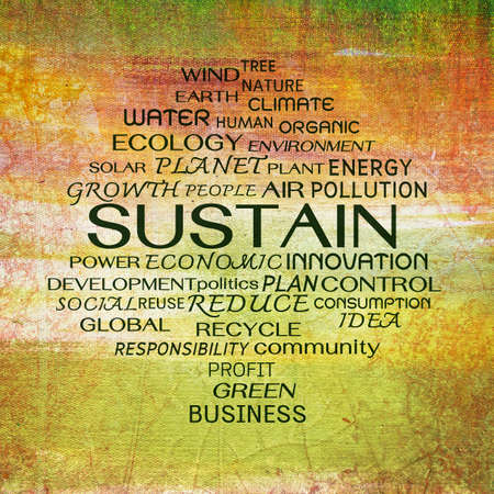 sustain: Sustain word clouds on painting background