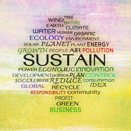 Sustain word clouds on painting background photo