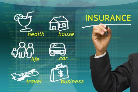 Zakenman onderstrepen Insurance woord met schetsen verzekerde categorie Stockfoto