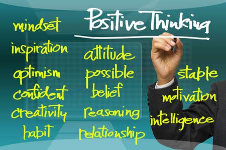 buena salud: Escritura de la mano positiva concepto de pensar en la pantalla