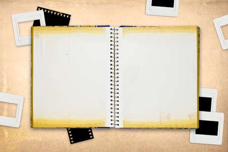 reversal: Photo album with film mounts background
