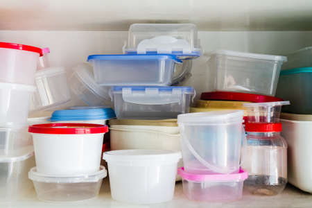 Reusable plastic container in the larder photo