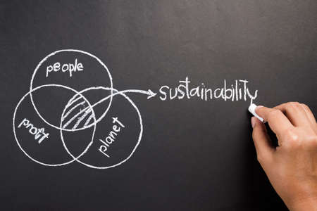 Hand drawing diagram of people, planet, profit to explain the intersection of Sustainable Development concept Stock Photo