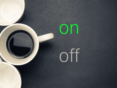 Coffee cup as switch on for coffee break or health care, nutrition concept photo