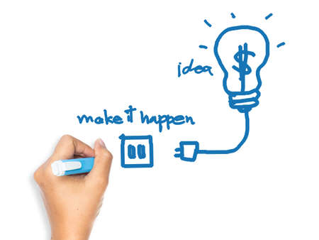 Hand drawing image as symbol of Making idea for business happen concept on whiteboard photo