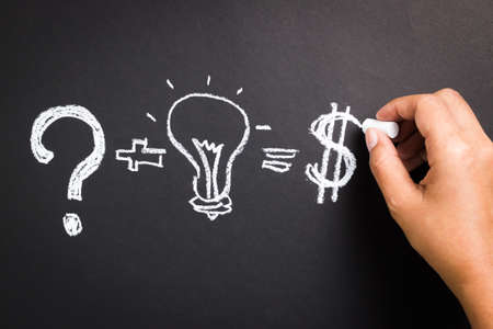 Hand sketching equation of idea for business success photo