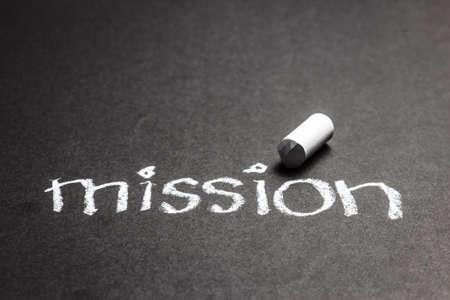 Mission word handwritten with chalk photo