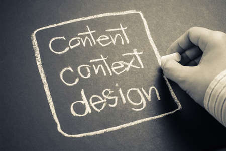 context: Hand writing Content, context and design word with chalk