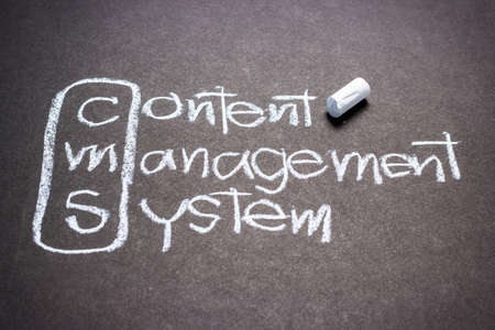 CMS, content management system handwritten with chalk