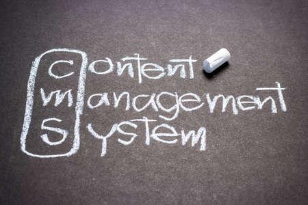 cms: CMS, content management system handwritten with chalk