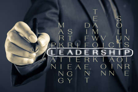 Businessman mark a Leadership word on business keyword puzzle photo