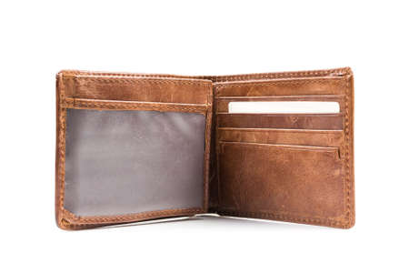 New leather wallet isolated on white background Banco de Imagens