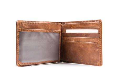 Nieuwe lederen portemonnee op een witte achtergrond Stockfoto