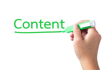 underline: Hand underline Content word on white  Stock Photo