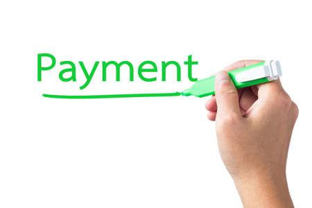 underline: Hand underline Payment word on white