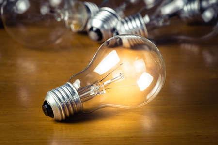 Lighten light bulb on wood